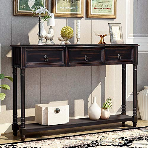 Merax Narrow Console Sofa Table with Drawers and Long Shelf for Living Room, Entryway/Hallway, Espresso