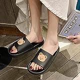 WENHUA Niño Niña Playa Zapatillas Sandalias Zapatillas de Estar por Casa de Hombre y Mujer, Zapatillas de baño Gruesas de Dibujos Animados Lindo Femenino, Black_38-39