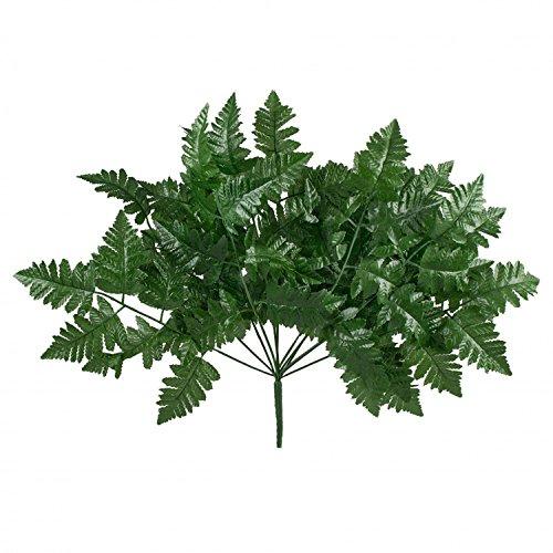 12 Leather Fern Stems Fronds ~ Filler Greenery Silk Wedding Decoration Flowers Artificial Arrangement Centerpieces