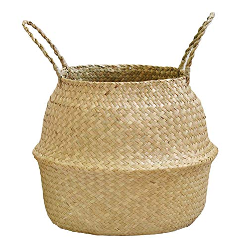Dragonaur Panier de rangement simple et moderne en osier Panier de rangement pliable en bambou Jonc de mer Pot de fleurs Décoration de jardin S