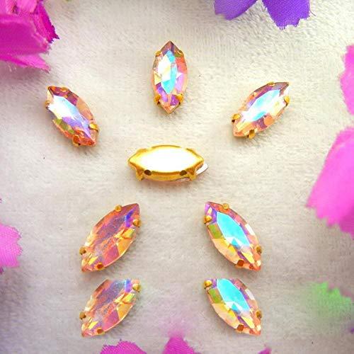AB Farben Gold Kralle Einstellungen 8 Größen Pferdeauge Marquise Glas Kristall Auf Strass Perlen Kleidungszubehör DIY nähen