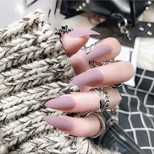 editTime 24PCS Solid Colors Acrylic Stiletto False Nails Full Cover Fake Nails Tips Natural Long Claw Nails (Matte pink purple)