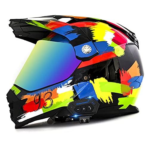 Bluetooth Casco de Motocross Adultos Casco de Cross Casco Moto Integral para MX Dirt Bike ATV Quad Enduro Downhill DH Off Road Scooter (Color : A, Size : M(57-58CM))