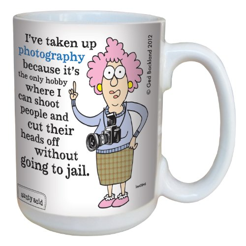 Hilarious Aunty Acid Photography Large Coffee Mug, 15-Ounce Cup lm43846 - Funny, Unique, Sarcastic Gag Gifts for Office Coworkers, Tree-Free Greetings