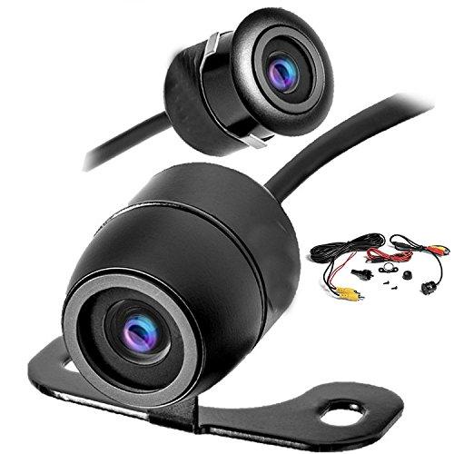 YMPA Rückfahrkamera Kamera Farbe Zwei Verschiedene Einbau Möglichkeiten Metallgehäuse schwarz mit 6 Meter Kabel für Monitor Auto KFZ PKW Wohnmobil Transporter klein 170 180 RFK-BF