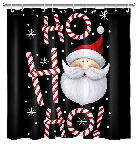 LB Christmas Shower Curtain Funny Santa Claus Ho Shower Curtains Hooks Cartoon Candy Cane Xmas Snowflake Bathroom Curtain Sets Decor,70x70 Inch Waterproof Fabric