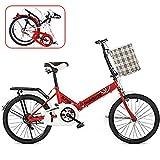 QINYUP De 16 Pulgadas de 20 Pulgadas de Bicicletas Plegables, bicicletas'S Estudiante Adulto Puede ser Usado por Personas Que Trabajan para Trabajar y Salir a Jugar,Rojo,16in