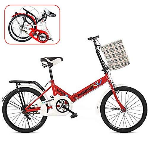 QINYUP 16-Pollici da 20 Pollici Bicicletta Pieghevole, della Bicicletta Studente di Scuola può Essere utilizzato da Lavoro Le Persone a Lavorare e Andare Fuori a Giocare,Rosso,16in