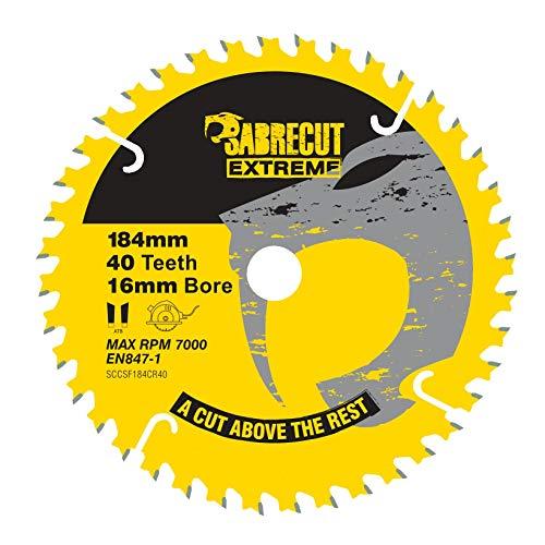 1 hoja de sierra circular SCCSF184CR40 SabreCut de 184 mm, 40T x 16 mm, compatible con Dewalt Makita Milwaukee Ryobi y muchos otros.