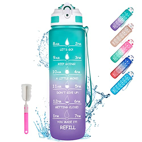 ShikeCore 32oz Water Bottles with Times to Drink, Motivational Water Bottle with Time Marker & Straw, Leakproof Water Bottle BPA Free for Fitness, Gym, School Green Purple