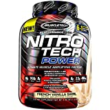 Protein Powder + Creatine Monohydrate + Testosterone Booster for Men | MuscleTech Nitro-Tech Power | Whey Protein Powder | Mass Gainer Protein Shakes | French Vanilla Swirl, 4 lbs (39 Servings)