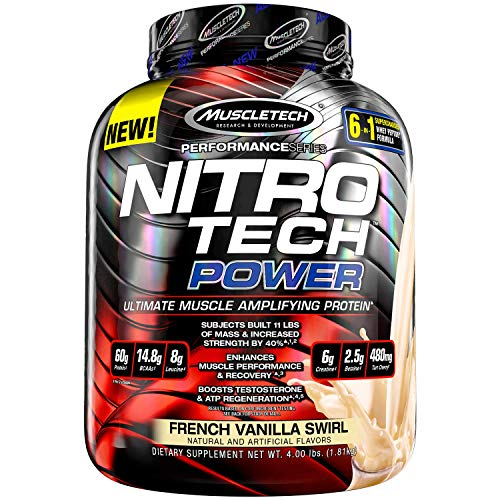 Protein Powder + Creatine Monohydrate + Testosterone Booster for Men | MuscleTech Nitro-Tech Power | Whey Protein Powder | Mass Gainer Protein Shakes | French Vanilla, 4 lbs (39 Servings)