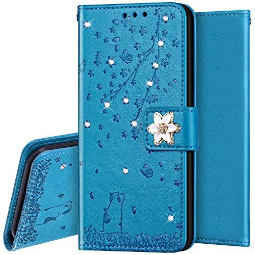 Surakey PU Leder Hülle für Samsung Galaxy A5 2016 Handyhülle Schutzhülle Strass Diamant Glänzend Bling Glitzer Kirschblüte Blumen Muster Tasche Leder Flip Case Brieftasche Klapphülle Handytasche, Blau