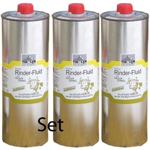 Tiroler Steinöl - Bremsenöl, Set mit 3 Stück a 1000 ml zum Vorteilspreis | Fliegenöl gegen Insekten, Fliegen, Bremsen, Zecken usw