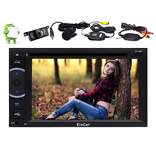 """Best WiFi Model Android 6.0 Quad-Core 6.2"""" Capacitive Touch-Screen Car DVD CD Player GPS Navigation 2 din Stereo System Support Bluetooth Autoradio FM/AM External Micro OBD USB + Free Camera"""
