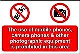 Die Verwendung von Mobiltelefonen, Kamera-Handys und anderer Fotografie-Ausrüstung ist im Bereich des Schildes verboten–Selbstklebendes Vinyl 300x 200mm