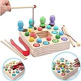 Symiu Giochi Montessori Magnetica Pesca Giocattoli Puzzle in Legno mit 10 Pesci, 10 Perle di Legno, 3 in 1 Magnetici Educativo Giochi per Bambini 3 4 5 Anni