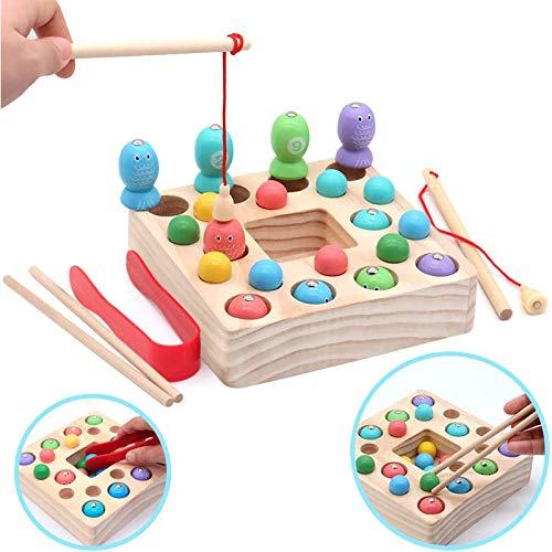 Symiu Juguetes de Pesca para Niños 3 IN 1 Montessori Magneticos Juguetes Madera 10 Pescados y 10 Bolas Puzzle Juegos de Mesa Educativos Regalos para Niños 3 4 5 6 Años