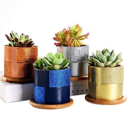 Cemento de Superficie de Brillo Macetas suculentas/macetas de Cactus con Bandeja de bambú, Maceta de Plantas de hormigón para decoración del hogar/Oficina Idea (A001 Series)