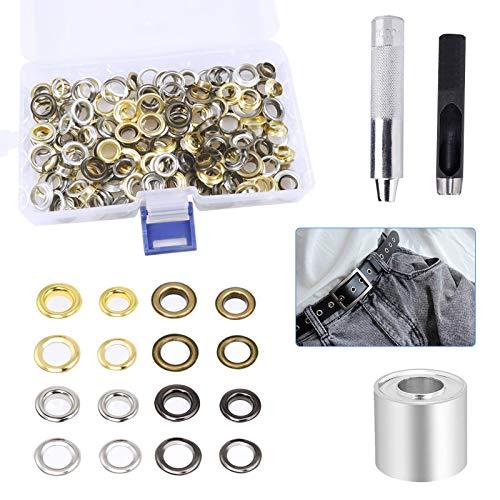8mm Kit de Ojales, 100 Sets Kit Herramienta Ojetes, Herramientas de Ojales de Metal para Lonas, Telas, Cortinas Fabricación, 4 Colores