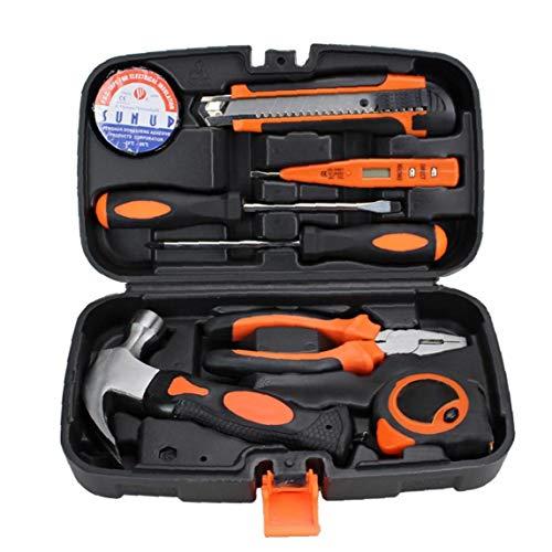 Berrywho Conjunto de Herramientas Home Hand Tool Kit Repair Tool Kit Mano del hogar de Herramientas de Mantenimiento Diario Combinación Kit Orange Box 9PCS