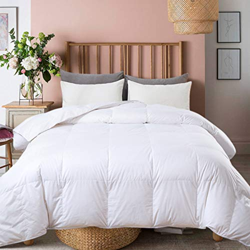 Ubauba All-Season Full Down Comforter 100% Cotton Quilted Feather Comforter with Corner Tabs. Lightweight Goose Down Duvet Insert White Cotton Comforter - Full Size