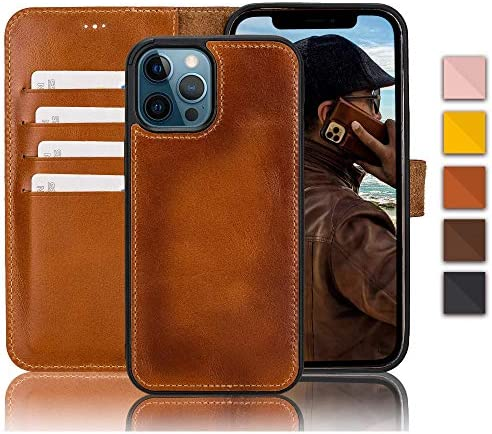 Bayelon Genuine Leather Wallet Case for iPhone 12 12 Pro 6 1 Rustic Tan Detachable Magnetic product image