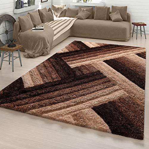 TT Home Wohnzimmer Teppich Shaggy Hochflor Konturenschnitt Zickzack In Creme braun, Größe:80x150 cm