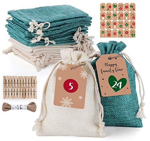Homewit Adventskalender zum Befüllen Stoffbeutel, 24 Stück Weihnachtskalender Jutesäckchen für Adventskalender mit 1-24 Adventszahlen auf der Kraftpapier Anhänger - 14 * 10cm