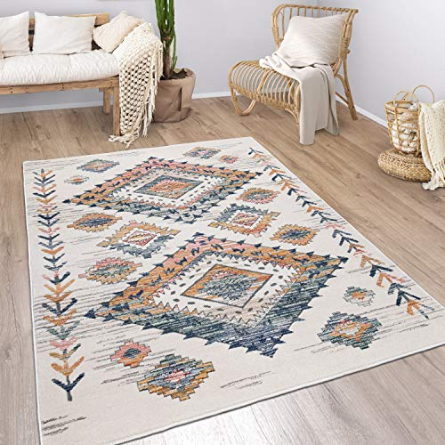 """Modern Rug Ethnic Design with Large Colorful Boho Pattern in Cream, Size:6'7"""" x 9'6"""""""