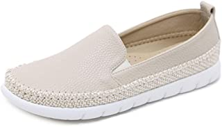 Women's Casual Shoes Loafers & Slip-Ons PU Hemp Rope Round Head Deck Shoes Athletic Shoes Black Beige,Beige,40