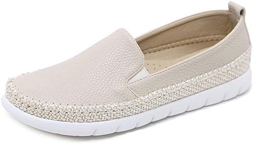 YAN Chaussures Casual Femmes Mocassins et Slip-Ons PU Chanvre Corde Ronde tête de Pont Chaussures Chaussures de Sport Noir Beige,Beige,37
