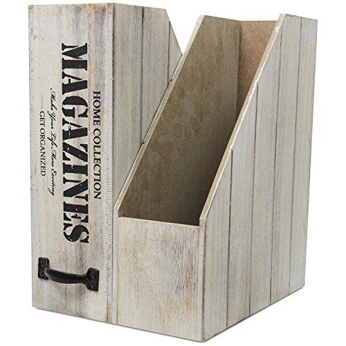 2er Set Stehsammler Magazines mit Griff 24,5x30x10cm Natur/Schwarz Stehordner Zeitschriftensammler Zeitschriftenhalter