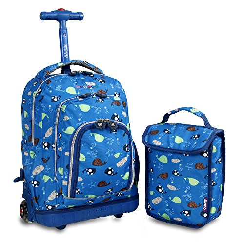 J World New York Luggage&backpack Backpack with Self-Magnetic Sparkling Wheel and'FREE'Lunch Bag, Seaworld, One Size