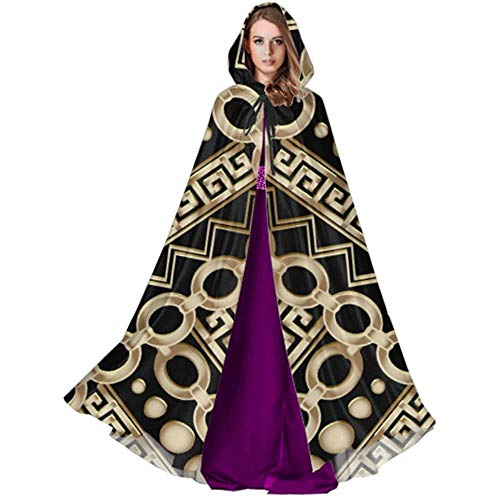Zome Lag Halloween Cosplay Costume,Party Wizard Cape,Devil Witch Wizard Cloak,Cloak With Hood,Abstract Manders Ornament Cape And Cloaks Hooded Cloak Men