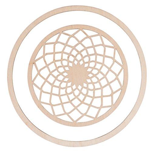 Rayher 62825000 Holz-Scheiben Dream filigran, Btl. 2 Teile, 1 Holzscheibe 13 cm ø, 1 Holzring 18 cm ø, gelaserte Holz-Elemente für Traumfänger, Deko-Hänger, Wanddekorationen