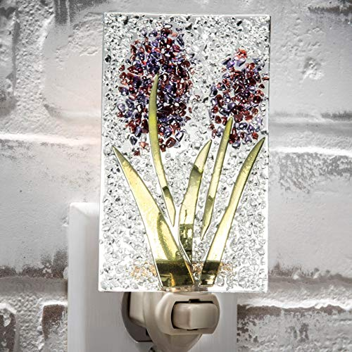Decorative Night Light Fused Glass Purple Flower Wall Plug in Nightlight for Hallway, Bedroom, Bathroom, Kitchen J Devlin NTL 209