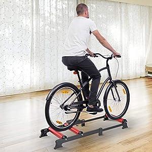 HOMCOM Rodillo de Ciclismo Ajustable Rodillo de Entrenamiento para Bicicleta Universal Interior 93-145x54x14.5cm Aleación de Aluminio