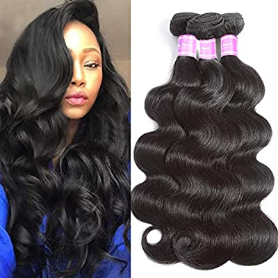 Flady Hair Brazilian Body Wave Virgin Hair 3 Bundles 100% Unprocessed Brazilian Human Hair Weave Bundles Black Color
