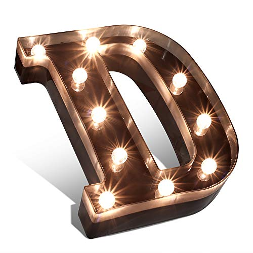 Glintee LED-Markise mit Buchstabenlichtern, schwarzes Alphabet, beleuchtetes Schild für Hochzeit, Zuhause, Party, Bar, Dekoration, batteriebetrieben, Buchstabe D