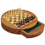 DYFYF Ajedrez de Madera for Niños y Adultos - magnéticos Redondos Grandes de ajedrez Plegable Juegos Juego de Mesa - Almacenamiento de Piezas ( Size : Large )