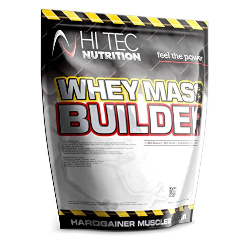 HI-TEC Nutrition Whey Mass Builder 1500 g - Strawberry WPC Mass Gainer with BCAA and Vitamins