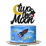 Two The Moon Cake Topper, 2nd Birthday Party Decorations, To the Moon and Back cake toppers, Rocket Stars Planet Space Themed Cake Toppers for Baby Shower Wedding Birthday Party Supplies