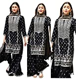 Top Fabric : Georgette With Embroidery Work Top Color : Black Top Length Top Size :38 Inch : 42 Has Inner :Yes Palazzo Color : Black Palazzo Fabric :Georgette With Embroidery Has Dupatta :Yes Dupatta Fabric : Georgette With Embroidery Work Lles Bodar...