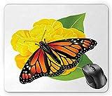 N\A Mariposa Monarca Raza Polilla Insecto Flor Hojas en, Amarillo Naranja Quemado Verde Lima y Gris Carbón Alfombrilla de Ratón