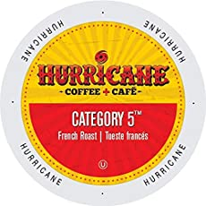Hurricane Coffee + Cafe Category 5 Single Serve Coffee, K Cups for Keurig Brewers, French Roast, 100 Count