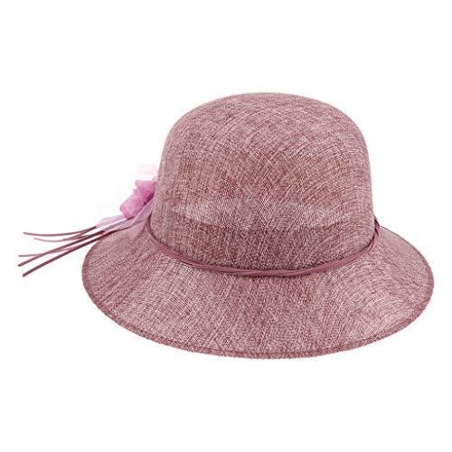 B Blesiya Femme Chapeau de Soleil Chapeau de Plage Chapeau d'Église Vêtement Déguisement Robe - Violet rosé, comme décrit