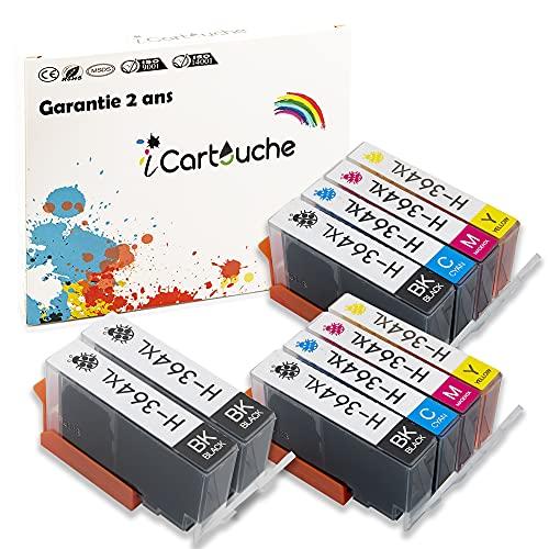iCartouche Cartucho de Tinta Compatible con HP 364XL 364 Deskjet 3070 3520 Officejet 4610 4620 Photosmart 5510 5520 6510 6520 7510 7520 C3640 C5300 C5380 C5390 C6300 C6340 C6350 C6380 (4BK 2C 2M 2Y)