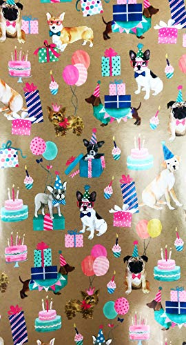 Multi Breed Dogs Celebrating Birthday Holiday Gift Wrapping Paper 2.5' x 12'