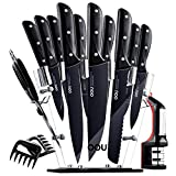 Knife Set, OOU Kitchen Knife Set, 15 Pieces Forged Full Tang High Carbon Stainless Steel fixed with...